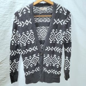 HOLLISTER gray and white cardigan western Sz S